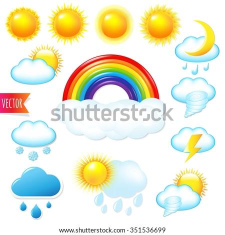 Bright Weather Icons Set  - stock photo