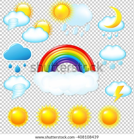 Bright Weather Icons Set Isolated on Transparent Background - stock photo