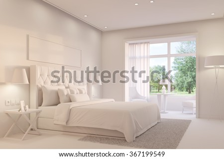 Bright white bedroom with king size bed on a day (3D Rendering) - stock photo