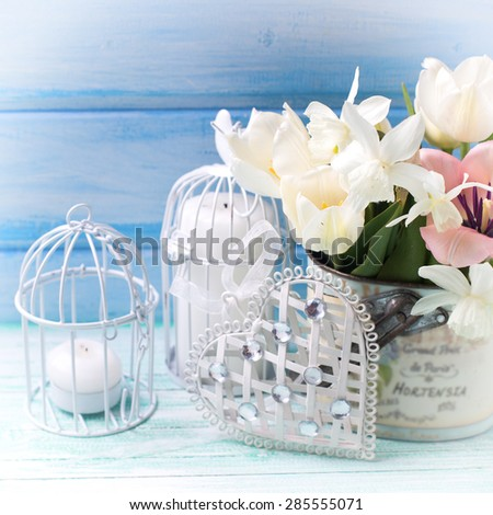 Bright white daffodils and tulips  flowers, candle on turquoise  painted wooden planks against blue wall. Selective focus. Square image. - stock photo