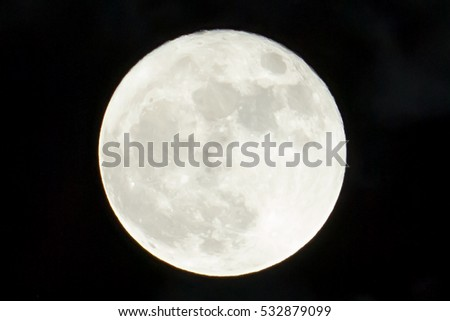 Bright white full moon against a black sky