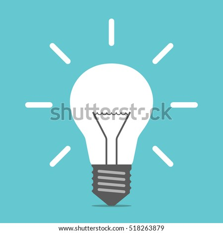 bright white shining light bulb on blue background creative idea innovation and inspiration concept