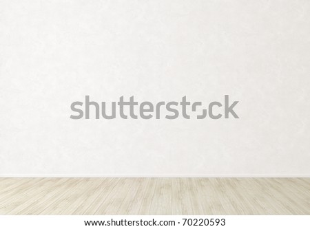 Bright white wall and light floor - stock photo