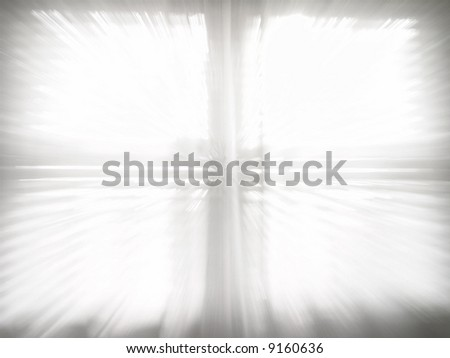 Bright White Window Zooming In Action - stock photo