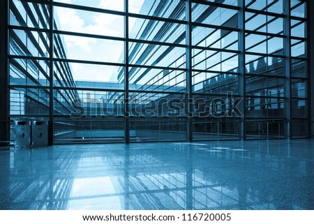 bright window and glass curtain wall a modern building - stock photo