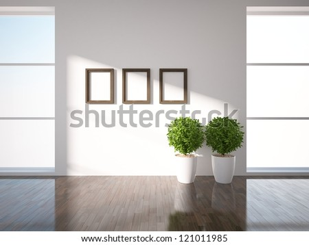 bright windows and frames on the wall - stock photo