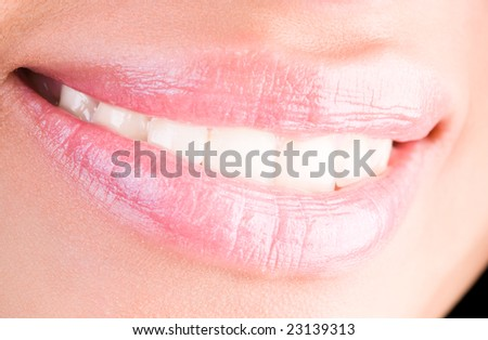 Bright woman smile closeup. - stock photo
