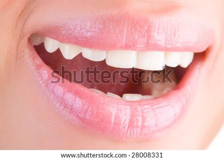 Bright woman smile closeup. - stock photo
