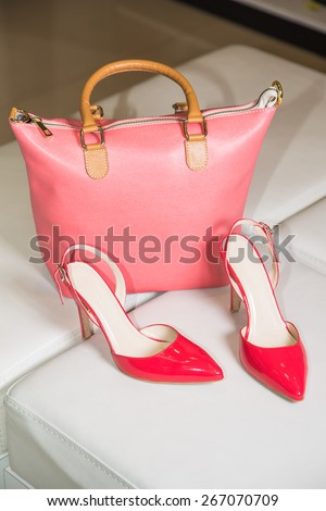 Bright Women's sandals and handbag - stock photo