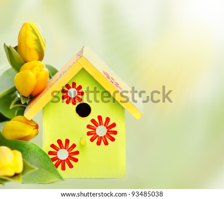 Bright wooden nestbox and yellow tulips, over white - stock photo