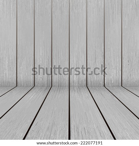 Bright wooden texture floor and wall in empty room - stock photo