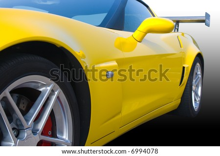 Bright yellow American racing car with gradient background - stock photo