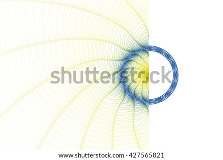 Bright yellow / blue and green abstract ripple ring design on white background  - stock photo