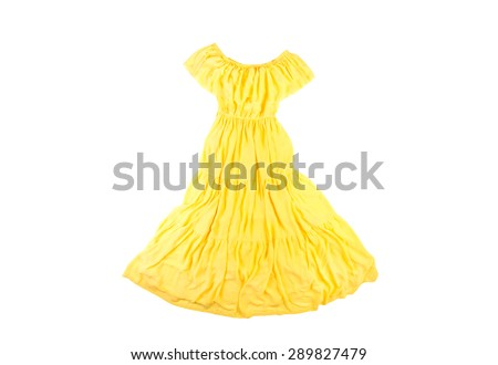 bright yellow chiffon long women dress in a rustic style isolated on white background - stock photo
