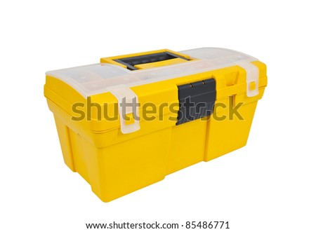 Bright yellow home maintenance tool box isolated on white. - stock photo