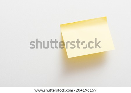 Bright Yellow paper blank on white background.  - stock photo