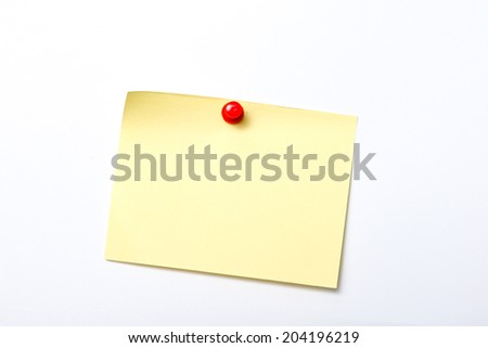 Bright Yellow paper blank with pin on white background.  - stock photo