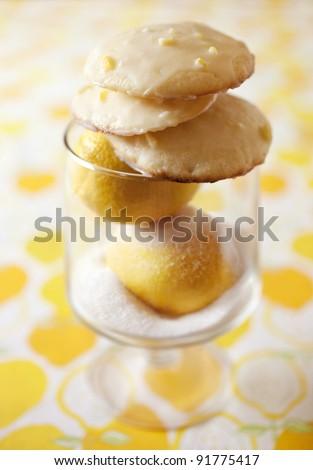 Bright Yellow Ricotta Cookies with a Lemon Glaze - stock photo