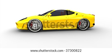 Bright Yellow Sports Car - Side view isolated - stock photo