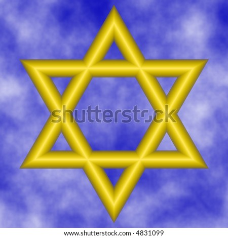 bright yellow star of david on cloudy sky background