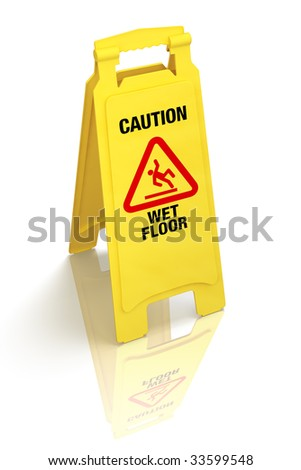 Bright yellow wet floor sign isolated on white. Pro clipping path. - stock photo