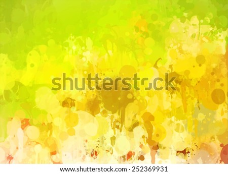 Bright yellow with green brush strokes background. Raster version - stock photo