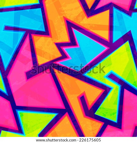 bright youth seamless pattern with grunge effect (raster version) - stock photo
