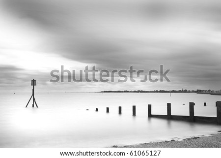 Brightlingsea, essex. Very long exposure to reveal misty sea and blurred clouds