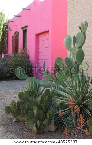 brightly colored building in Tucson's Old Barrio - stock photo