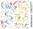 Brightly colored confetti, ribbons, streamers on a white background - stock photo
