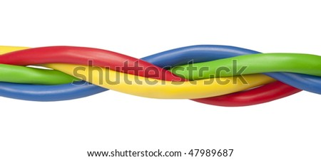 Brightly colored ethernet network cables twisted isolated on white background. Image contains blue, yellow, green and red coloured network cables