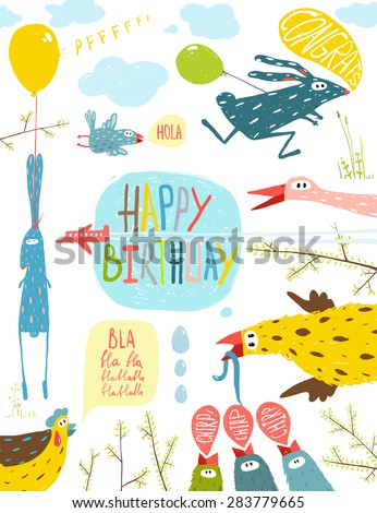Brightly Colored Fun Cartoon Animals Happy Birthday Greeting Card. Bizarre countryside baby animals illustration for children. Raster variant. - stock photo