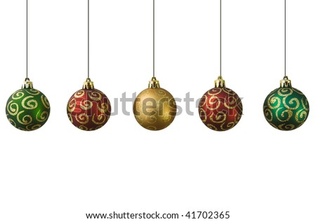 Brightly colored sparkling and shiny new christmas baubles in a row isolated on white. - stock photo