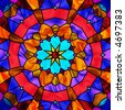 brightly colored stained glass kaleidoscope - stock photo