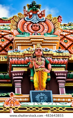 Brightly colored Tamil temple
