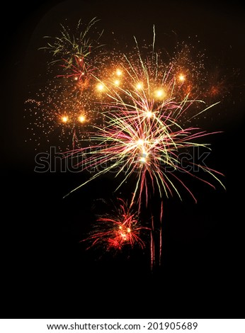 Brightly colorful fireworks display