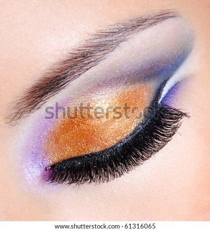Brightly colors of a fashion makeup - macro shot - stock photo
