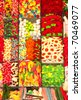 Brightly coloured assorted sweets and jellies at Barcelona's San Josep market. - stock photo