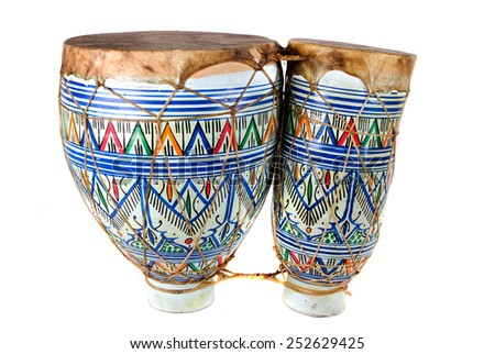 brightly decorated bongo drums - stock photo