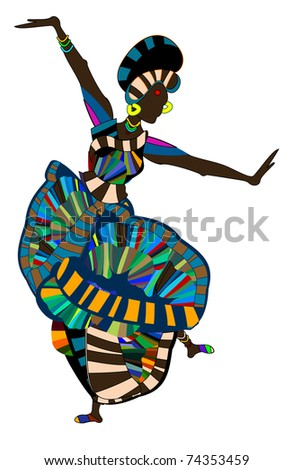 brightly dressed woman cheerfully perform ethnic dance (raster version) - stock photo