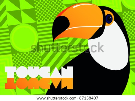 Brightly illustrated toucan - rasterized file - stock photo