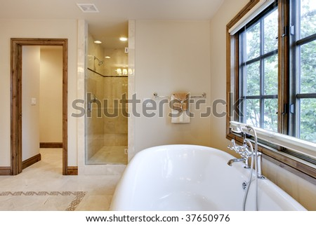 Brightly Lit Bath Tub and Shower Area