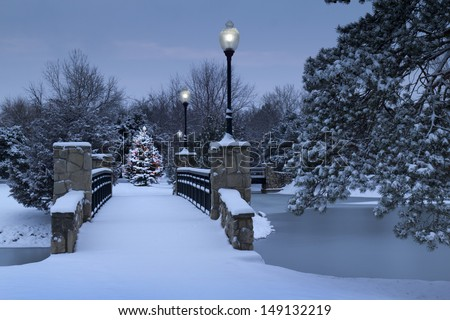 Brightly lit Christmas Tree glowing in the early morning light of this snowy park during the holiday season. The snow covered bridge, lamps, and frozen lake create a classic Holiday illustration. - stock photo