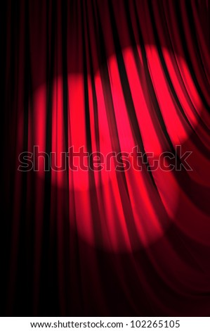 Brightly lit curtains in theater concept - stock photo