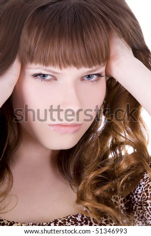 Brightly picture of lovely woman over white - stock photo