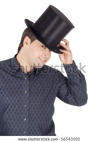 Brightly pictures of cheerful man in top hat (cylinder) - stock photo
