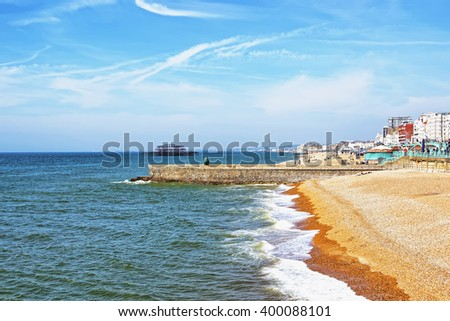 Brighton Beach in Brighton that is in East Sussex of England. Brighton is a seaside resort. It is under the protection of the UNESCO. - stock photo