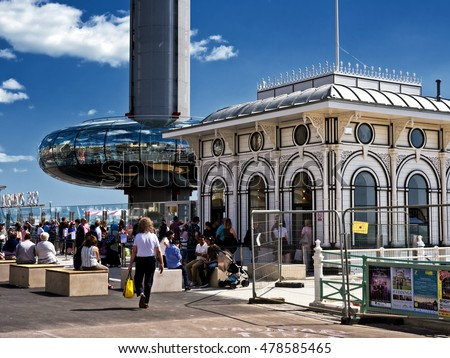 Brighton, East Sussex/United Kingdom - August 9 2016 - British Airways i360 sightseeing attraction