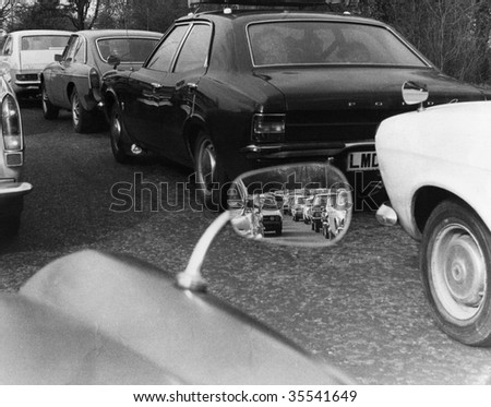 BRIGHTON, ENGLAND-APRIL 11: A traffic jam on the A23 London to Brighton road on April 11, 1977 near Brighton, Sussex.