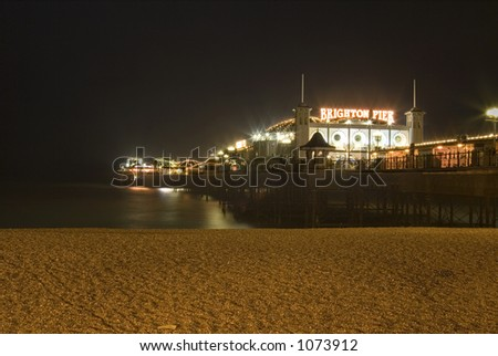 Brighton Pier South England At Night - stock photo